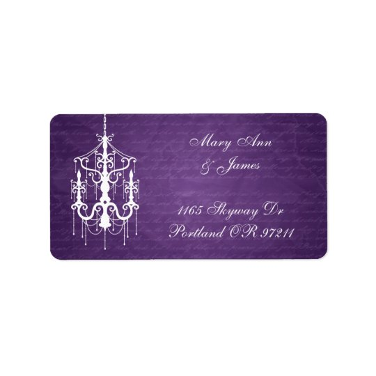 Elegant Wedding Address Chandelier Purple Address Label
