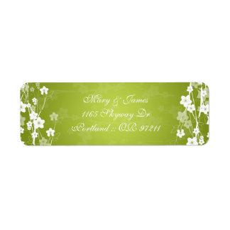 Elegant Wedding Address Cherry Blossom Lime Green