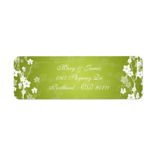 Elegant Wedding Address Cherry Blossom Lime Green Return Address Label