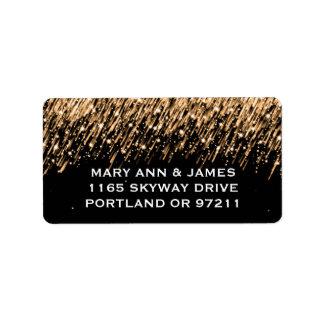 Elegant Wedding Address Falling Stars Gold Label