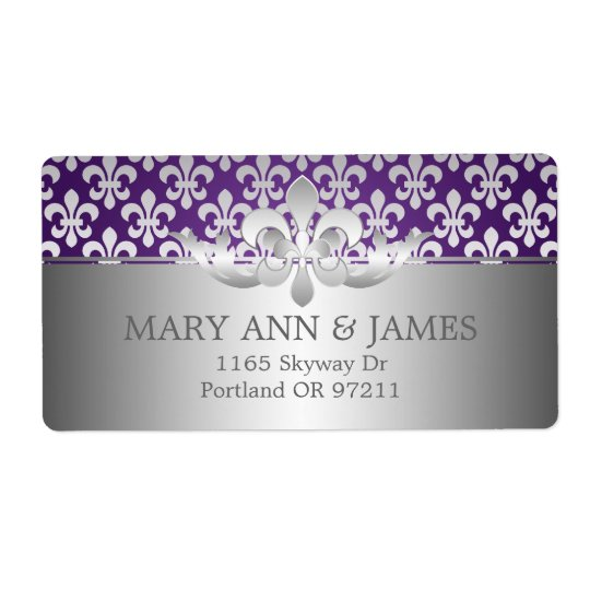 Elegant Wedding Address Fleur De Lis Purple Shipping Label