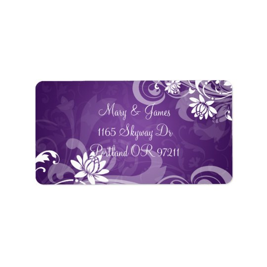 Elegant Wedding Address Floral Swirls Purple Address Label