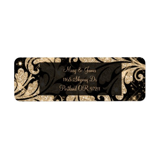 Elegant Wedding Address Gold Floral Glitter Swirl Return Address Label