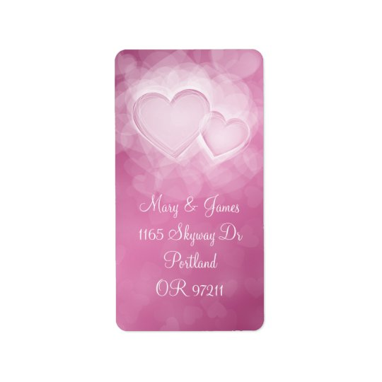 Elegant Wedding Address Modern Hearts Pink Address Label