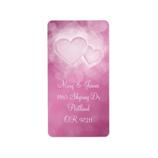 Elegant Wedding Address Modern Hearts Pink Label