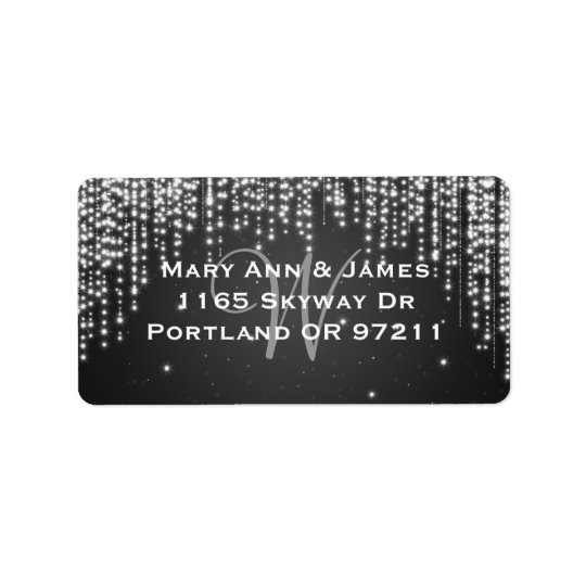 Elegant Wedding Address Night Dazzle Black Address Label