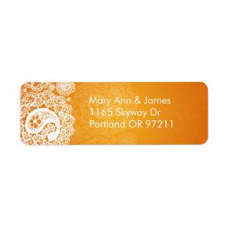 Elegant Wedding Address Paisley Lace Orange Return Address Label