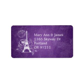 Elegant Wedding Address Romantic Paris Purple Address Label