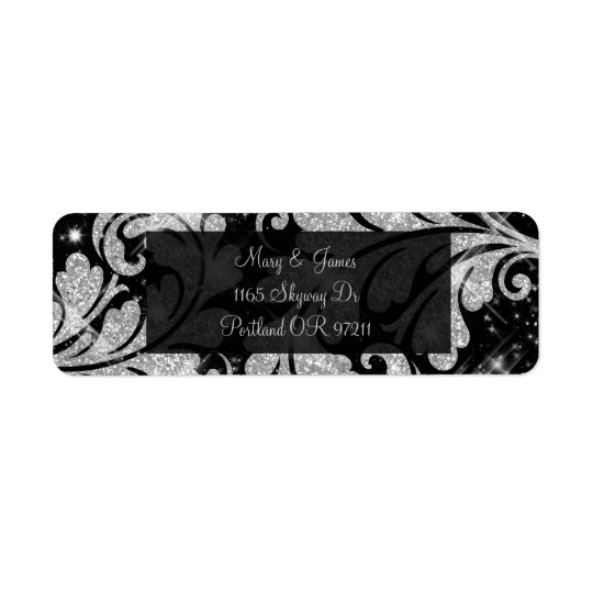 Elegant Wedding Address Silver Glitter Swirl