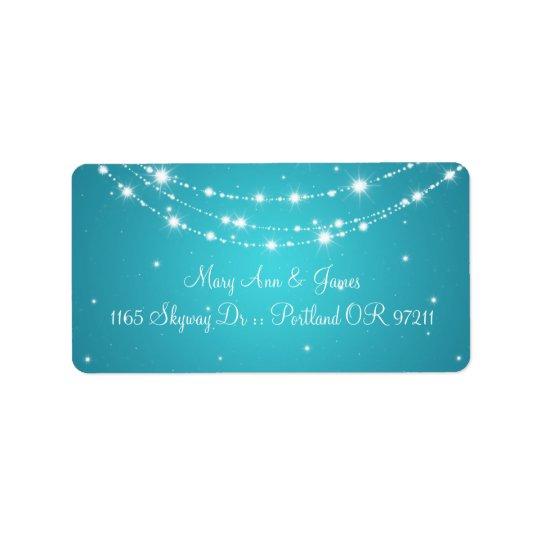 Elegant Wedding Address Sparkling Chain Blue Address Label