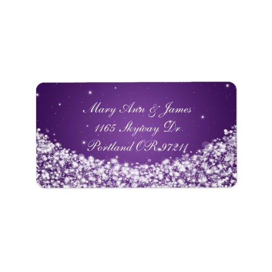 Elegant Wedding Address Star Sparkle Purple Address Label