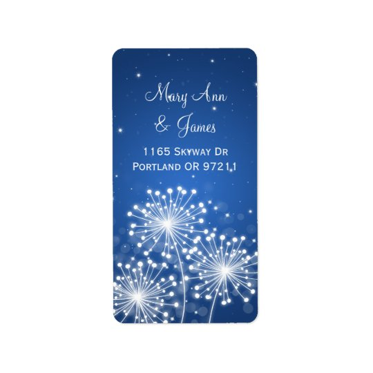 Elegant Wedding Address Summer Sparkle Sapphire Label