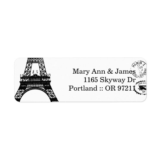 Elegant Wedding Address Vintage Paris Postcard Return Address Label