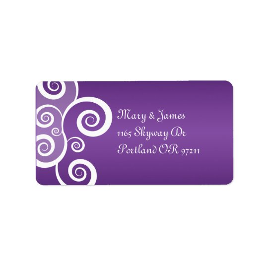 Elegant Wedding Address White Swirls Purple Address Label