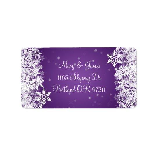 Elegant Wedding Address Winter Snowflakes Purple Label