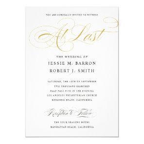 Elegant Wedding At Last Gold Calligraphy Invitation
