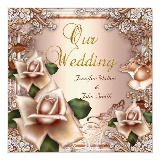 Elegant Wedding Beige Cream Gold Rose Card