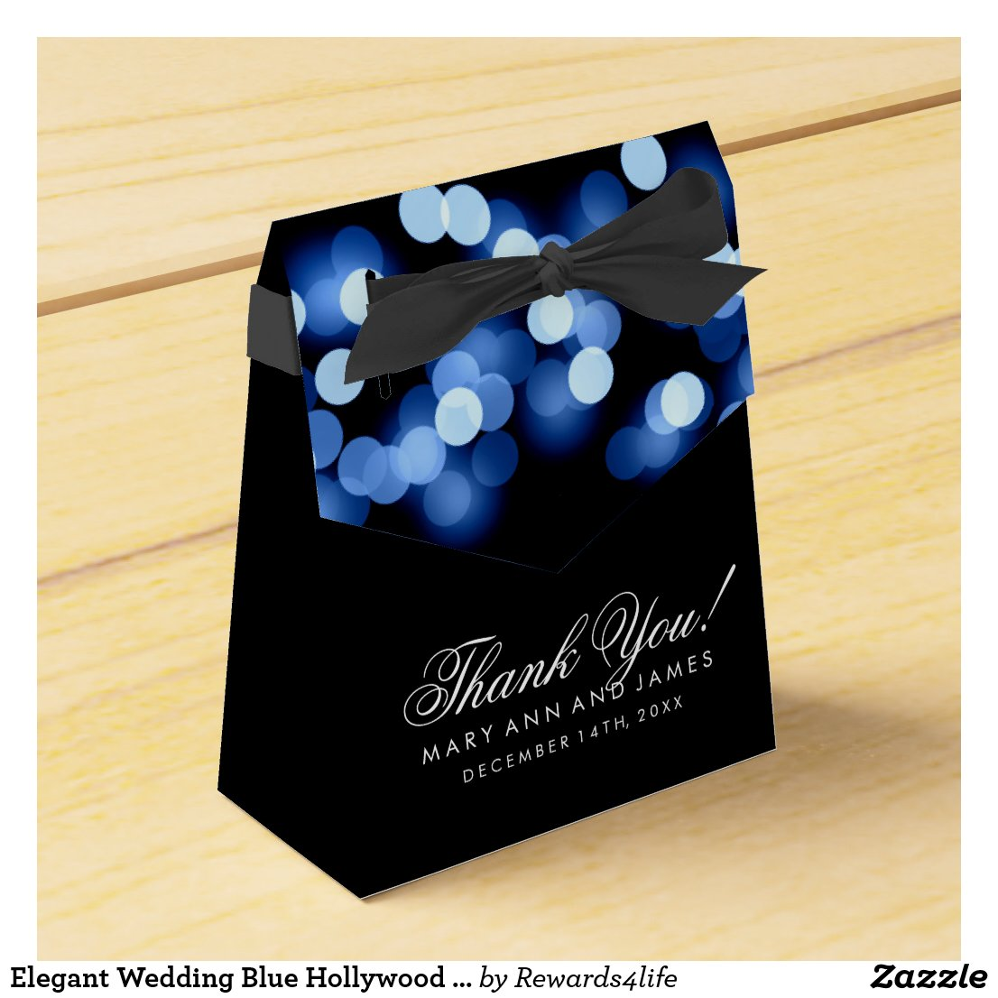 Elegant Wedding Blue Hollywood Glam Favour Box