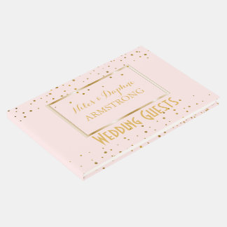 Elegant Wedding | Blush Pink Gold Confetti Guest Book