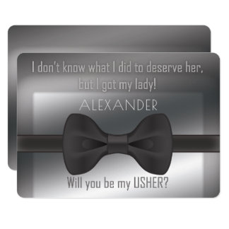 Elegant Wedding  Bowtie Will You Be My Usher Card