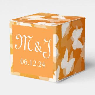 Elegant Wedding Butterflies Monogram Orange Favour Box