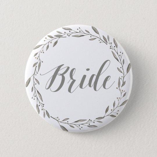 Elegant Wedding Buttons Grey Floral Wreath Bride