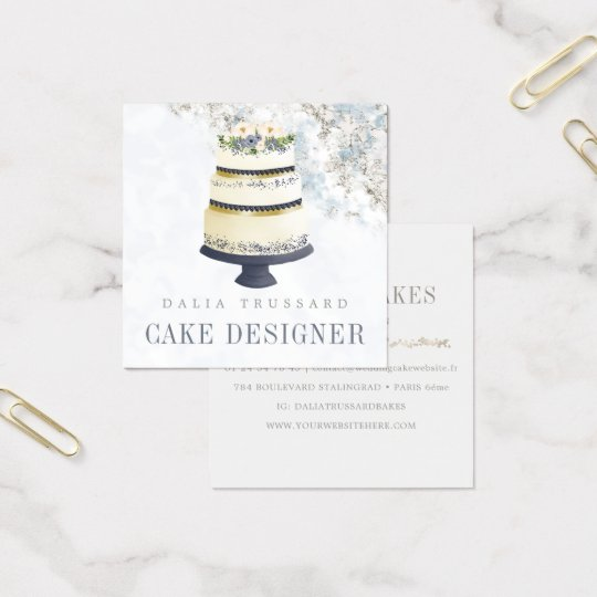 Elegant Wedding Cake Designer Bakery Gold Marble Square