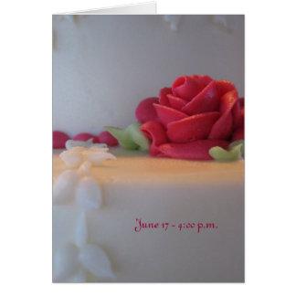 Elegant Wedding Cake with pink roses Card