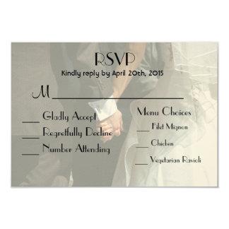 Elegant Wedding Couple Holding Hands RSVP 9 Cm X 13 Cm Invitation Card