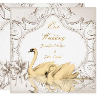 Elegant Wedding Cream Gold White Swans Bow Set Card
