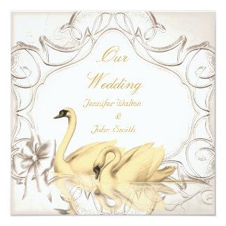Elegant Wedding Cream Gold White Swans Bow Set 13 Cm X 13 Cm Square Invitation Card