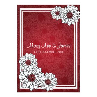 Elegant Wedding Dahlia Floral Red Card