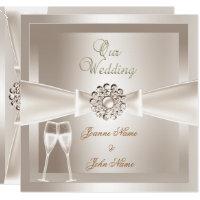 Wedding invitations announcements zazzle uk elegant wedding damask cream white champagne stopboris Choice Image
