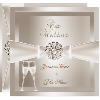 Elegant Wedding Damask Cream White Champagne Card