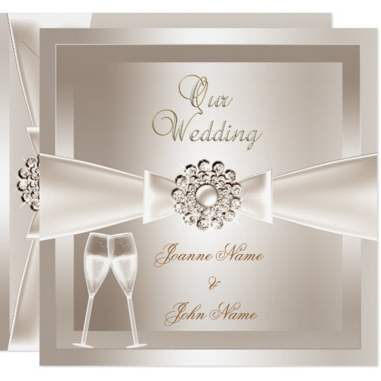 Elegant Wedding Invitations: Elegant Wedding Damask Cream White Champagne Invitation
