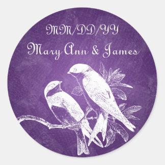 Elegant Wedding Date Love Birds Purple Round Sticker