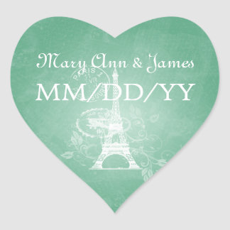 Elegant Wedding Date Romantic Paris Mint Green Heart Sticker