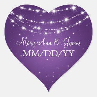 Elegant Wedding Date Sparkling Chain Purple Heart Sticker