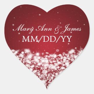 Elegant Wedding Date Star Sparkle Red Heart Sticker