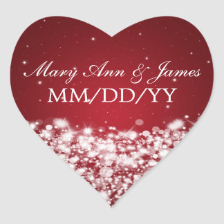 Elegant Wedding Date Star Sparkle Red Heart Stickers