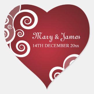 Elegant Wedding Date White Swirls Red Heart Sticker