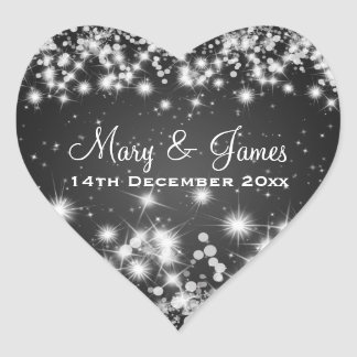 Elegant Wedding Date Winter Sparkle Black Heart Heart Sticker