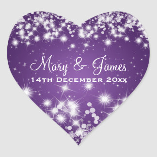 Elegant Wedding Date Winter Sparkle Purple Heart Heart Sticker