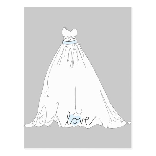 Elegant Wedding Dress Invitation Postcard