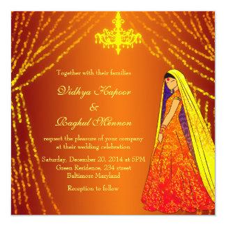 Elegant Wedding Dress Lights Chandelier Invitation