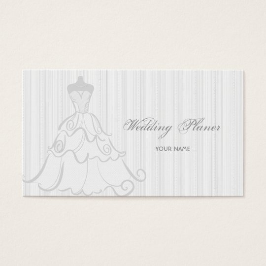 Elegant Wedding Dress White And Grey Business Card