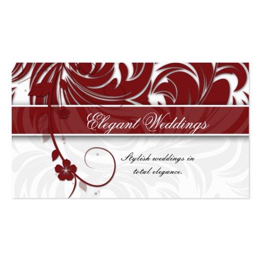 Elegant wedding event planner floral leaf red pack of for Event planner business card