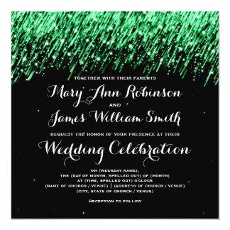 "Elegant Wedding Falling Stars ""Emerald Green"" Card"