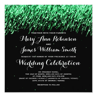 "Elegant Wedding Falling Stars ""Emerald Green"" 5.25x5.25 Square Paper Invitation Card"