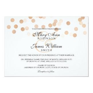Elegant Wedding Faux Copper Foil Glitter Lights Card
